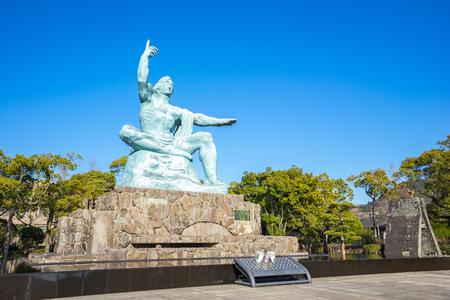 Peace Statue of Nagasaki Peace Park in Nagasaki, Japan.