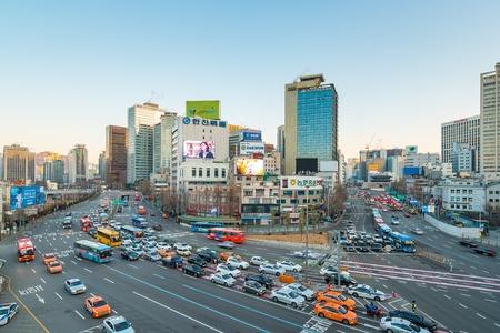 Seoul, South Korea - December 12, 2017: Seoul city traffic street in Seoul, South Korea.