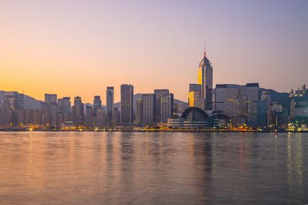 Hong Kong city skyline at twilight.