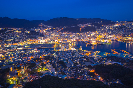 View of Nagasaki city skyline from Mount Inasa in Japan.