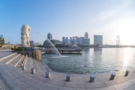 Singapore city, Singapore - April 9, 2018: Merlion Park with sunrise in Singapore city, Singapore.