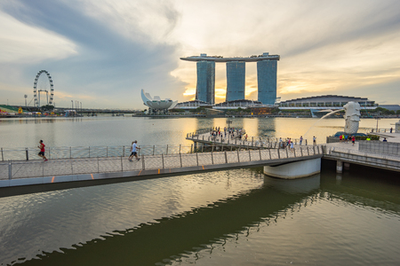 Singapore city, Singapore - January 22, 2017: Crowd of tourist in Merlion Park the famous place in Singapore city.