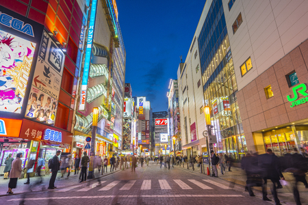 Tokyo, Japan - April 16, 2018: Akihabara Electric Town at night in Tokyo city, Japan.
