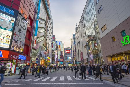 Tokyo, Japan - April 16, 2018: Akihabara shopping district area with Japanese people in Tokyo, Japan.