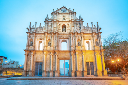 Ruins of St. Paul's at night in Macao, China.