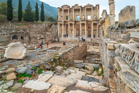 The Library of Celsus in Ephesus in Izmir, Turkey. Stock Photo