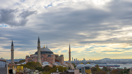 Hagia Sofia with view of Istanbul city skyline in Turkey.