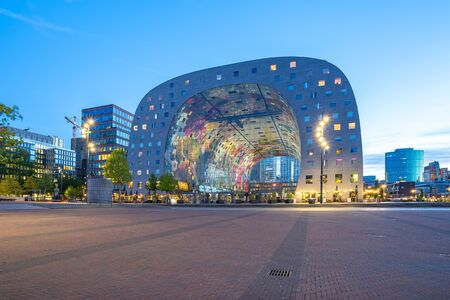 Rotterdam, Netherlands - May 13, 2019: The Markthal at night in Rotterdam city, Netherlands.