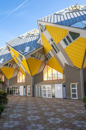 Rotterdam, Netherlands - May 13, 2019: Cube House are a set of innovative houses built in Rotterdam, Netherlands