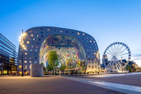 Rotterdam, Netherlands - May 13, 2019: Night view of Rotterdam city with Markthal in Netherlands.