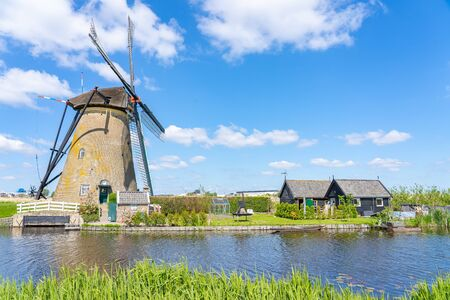 Windmills of Kinderdijk Village in Molenlanden near Rotterdam in Netherlands. 版權商用圖片