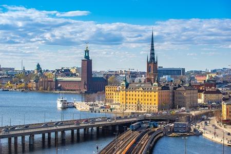 Stockholm skyline with view of Gamla Stan in Stockholm, Sweden. Redakční