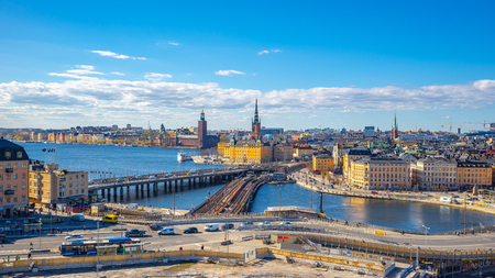 Stockholm cityscape skyline with view of Gamla Stan in Stockholm, Sweden.