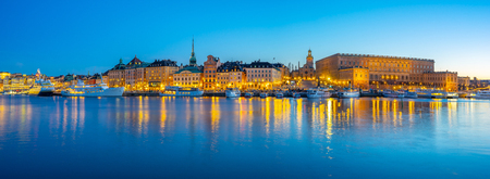 Panorama view of Gamla Stan at night in Stockholm city, Sweden.