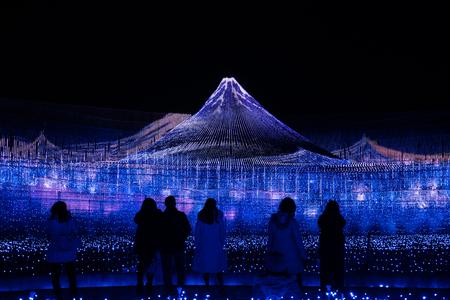Mie, Japan - February 18, 2019: Nabana No Sato Winter Illumination in Mie in Japan.