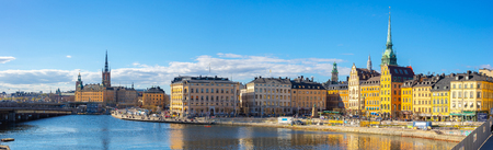 Panoram view of Stockholm skyline with view of Gamla Stan in Stockholm, Sweden. Redakční