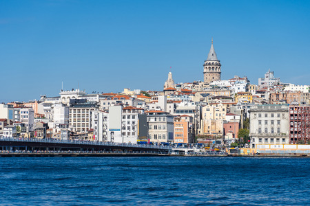 Istanbul skyline with view of Galata Tower in Turkey. 新聞圖片