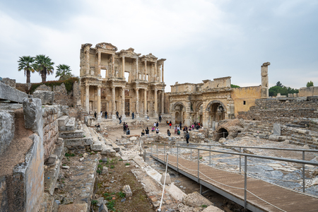 The Library of Celsus in Ephesus Selcuk, Izmir province Turkey. 新聞圖片