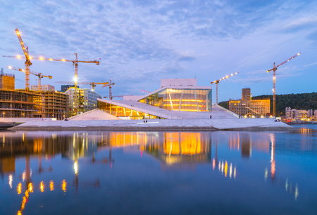 Oslo, Norway - May 7, 2017: Oslo city skyline with Oslo Opera House at night in Oslo city, Norway. 新聞圖片