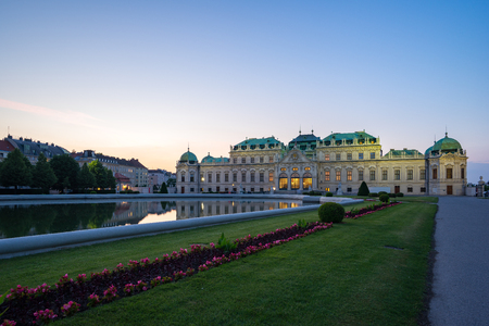 Vienna, Austria - May 12, 2018: Belvedere Palace at twilight in Vienna city, Austria.