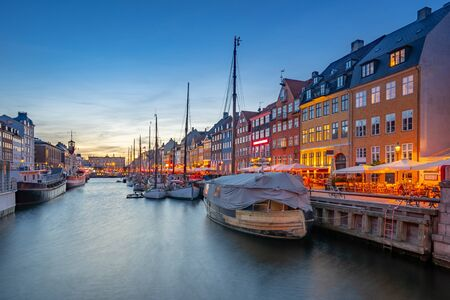 Nyhavn landmark buildings in Copenhagen city, Denmark.