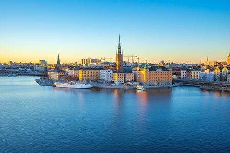 Stockholm Gamla Stan skyline at twilight in Stockholm city, Sweden. 版權商用圖片