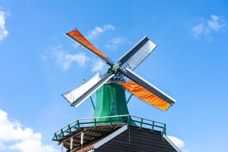 Windmill at Zaanse Schans in Netherlands. 版權商用圖片