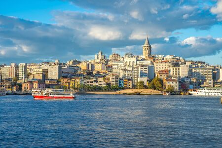 Istanbul skyline with Galata Tower in Istanbul, Turkey.