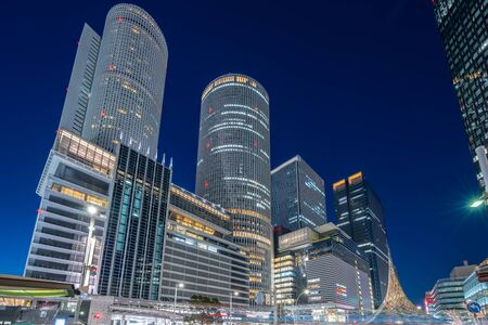 Landmark buildings in Nagoya city at night in Nagoya, Japan. 版權商用圖片