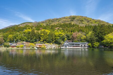 View of Kinrinko Lake in Yufu, Japan. 版權商用圖片
