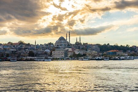 Panorama view of Galata Tower and Istanbul city skyline in Istanbul city, Turkey.