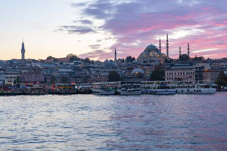Istanbul city skyline and port of Istanbul in Turkey. 版權商用圖片