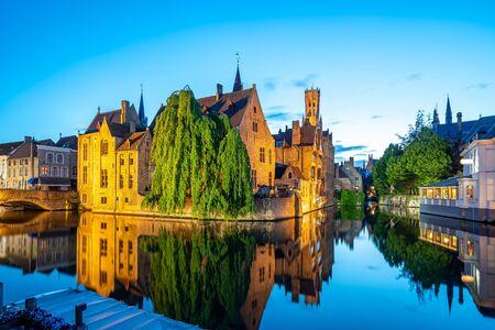 Bruges city skyline at night in Bruges, Belgium. 版權商用圖片