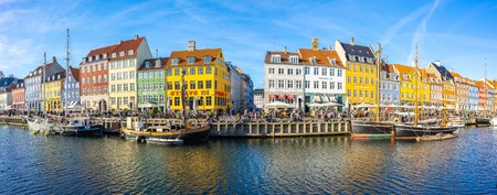 Copenhagen, Denmark - May 2, 2017: Panorama view of Nyhavn in Copenhagen city, Denmark.