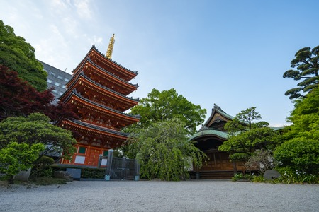 Fukuoka, Japan - April 17, 2019: Tocho-ji temple landmark in Fukuoka, Japan.