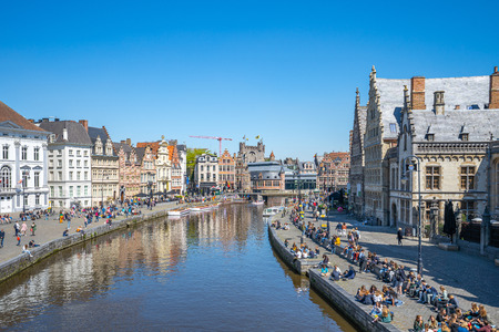 Ghent, Belgium - May 16, 2019: Ghent old town skyline with canal and in Belgium. 新聞圖片