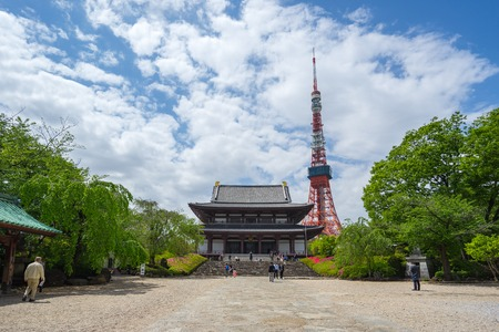 Tokyo Tower with Zojoji Temple the famous places in Tokyo city, Japan.