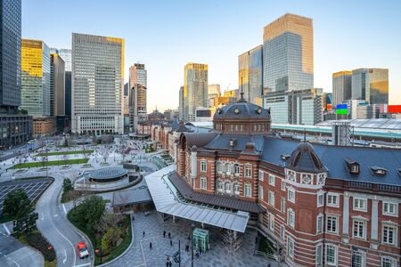 Tokyo cityscape with view of Tokyo Station in Japan. 版權商用圖片