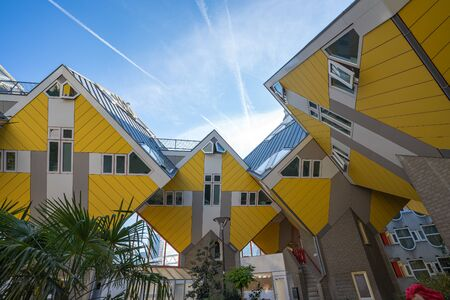 Rotterdam, Netherlands - May 13, 2019: Cube houses are a set of innovative houses built in Rotterdam, Netherlands