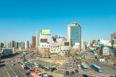 Seoul, Republic of Korea - December 13, 2017: Car and traffic in Seoul city, Korea.