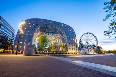 Rotterdam, Netherlands - May 13, 2019: View of Markthal at night in Rotterdam city, Netherlands.