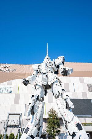 Tokyo, Japan - January 3, 2020: RX-0 Unicorn Gundam in front of Diver City Tokyo Plaza in Odaiba, Tokyo.