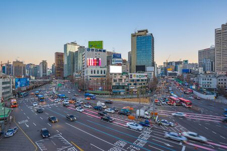 Seoul, Republic of Korea - December 12, 2017: Car and traffic in Seoul city, Korea.