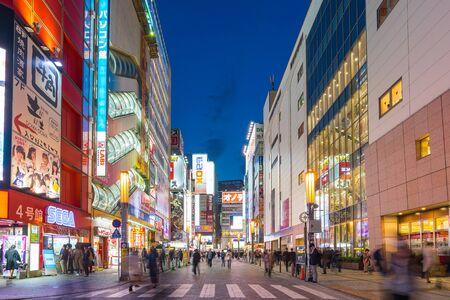 Tokyo, Japan – April 16, 2018: Night in Akihabara the Electric Town in Tokyo, Japan.