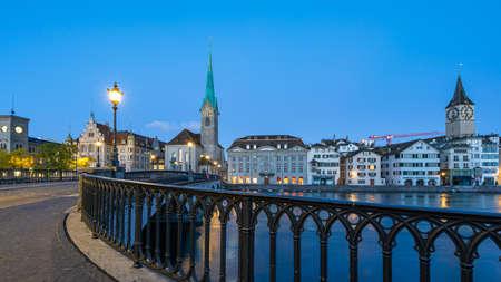 Night view of Zurich city with view of Fraumunster church in Switzerland.