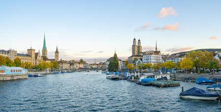 Panorama view of Zurich city skyline in Switzerland.