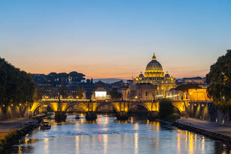 Vatican city skyline with view of Tiber river in Rome, Italy.