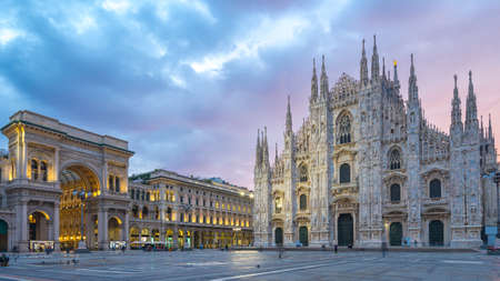 Beautiful sky with view of Milan Cathedral in Italy.