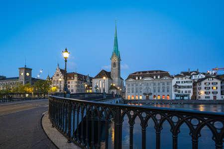 Zurich city skyline with view of Fraumunster church in Switzerland. 版權商用圖片