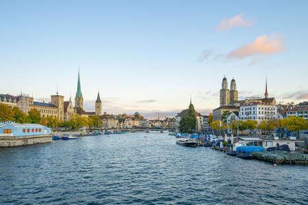 Zurich city skyline with view of Limmat river in Switzerland. 版權商用圖片